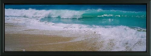 Easy Art Prints Panoramic Images's 'Waves Crashing on The Beach, Kauai, Hawaii, USA' Premium Framed Canvas Art - 36