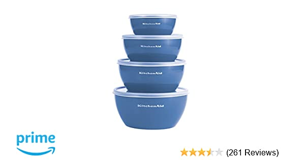 Kitchenaid Prep Bowls with Lids, Set of 4, Ocean Blue - KC176OSSBA