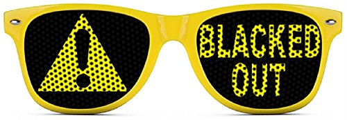 Blacked Out Sunglasses - Funny Wayfarer Shades - Yellow - Sunglasses Outrageous
