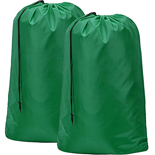 HOMEST 2 Pack Nylon Laundry Bag, 28 x 40 Inches Travel Drawstring Bag, Rip-Stop Large Hamper Liner, Machine Washable, Dark Green