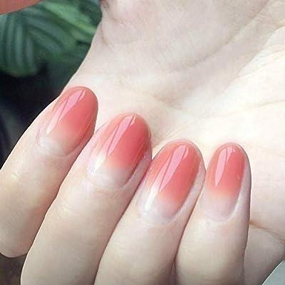Amazon.com: 24 uñas postizas de diseño ovalado corto de ...