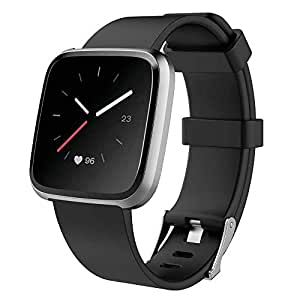 TPE Band Replacement Compatible for Fitbit Versa/Fitbit Versa Lite Watchband Wristband Fitbit Bands Candy Colors Small/Large Size (Black, Small (196mm Band))
