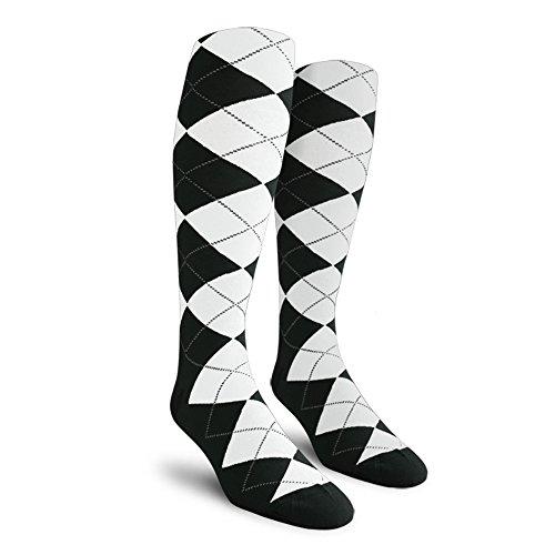 Argyle Golf Socks: Over-the-Calf - Black/White - Mens (Mens Argyle Golf Socks)