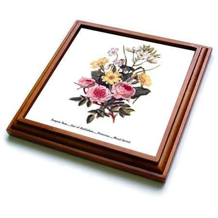 3dRose Vintage Flowers Pompon Rose Star of Bethlehem Primrose Wood Sorrel Trivet with Ceramic Tile, 8 by 8