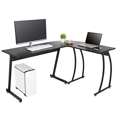 ZenStyle L-Shape Corner Computer Desk Home Office PC Laptop Table Multipurpose Gaming Workstation with Solid Steel Frame/Waterproof Desktop