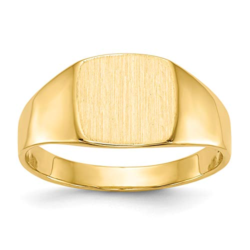 - Brilliant Bijou Solid Back 14k Yellow Gold Personalized Signet Ring - Engravable Size 7