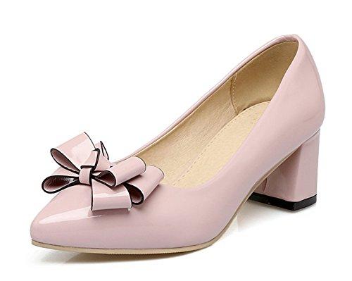 Aisun Donna Elegante Taglio Basso Scarpe A Punta Slitta Impilate Tacco Medio Pompe Con Scarpette Colore Rosa