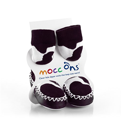 Mocc Ons Moccasin Style Slipper Socks, Cow Print - 12-18 Months