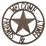 #9: Aunt Chris Products - Heavy Round Large Cast Iron ~ Welcome Friends & Family Sign - Circle With A Star In The Middle - Old Country Western Design - Indoor or Outdoor Use - Bronze Rustic