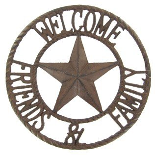 Aunt Chris Products - Heavy Round Large Cast Iron ~ Welcome Friends & Family Sign - Circle With A Star In The Middle - Old Country Western Design - Indoor or Outdoor Use - Bronze Rustic (Western Decor Sign)