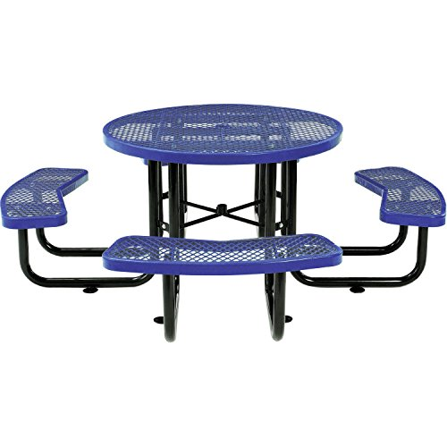 "Global Industrial 46"" Expanded Metal Round Picnic Table, Blue"