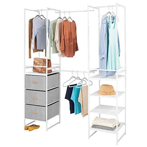mDesign Modular Closet Organizer System, Storage Unit, Sturdy Steel Frame, 3 Fabric Drawer Bins, 4 Garment Racks, 5 Shelves for Bedroom, Hallway, Entryway, Closet, Textured Print - Gray/White