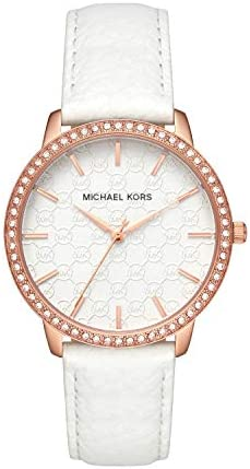 Michael Kors Women s Lady Nini Watch, Three Hand Quartz Movement with Crystal Bezel and White Logo dial