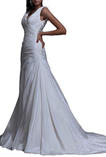 Length Taffeta Wedding Dresses (Angel Formal Dresses V Neck Floor Length Taffeta A Line Wedding Dress(16,Ivory))