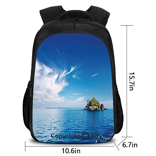 School Kindergarten Backpack,Small Island in Trat Archipelago Thailand Reef Rock Diving Trip Sunny Day Landscape,School Bag :Suitable for Men and Women,School,Travel,Daily use,etc.Blue Green