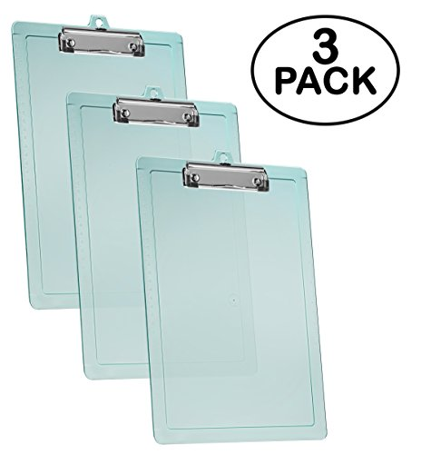 Acrimet Clipboard Letter Size Low Profile Clip (Clear Green Color) (3 - Pack)