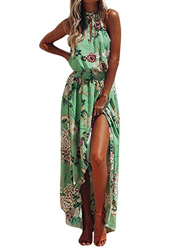 New in Respctful✿ Women's Halter Neck Vintage Floral Print Backless Split Beach Party Maxi Dress Summer Party Long Dress Green