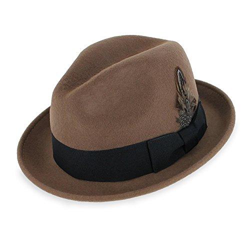 - Belfry Trilby Men/Women Snap Brim Vintage Style Dress Fedora Hat 100% Pure Wool Felt in Black, Grey, Navy, Brown and Pecan (XLarge, Pecan)