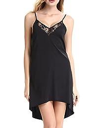 Women's Lace-trim Satin Slip Nightgown Chemises Sleepwear by Nora Twips(XS-XL)