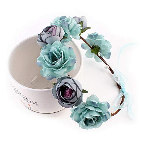 Flexi Mist - Womens Boho Floral Flower Crown Headband Hair Garland Wedding Headpiece Hairband (ColorID - Blue)