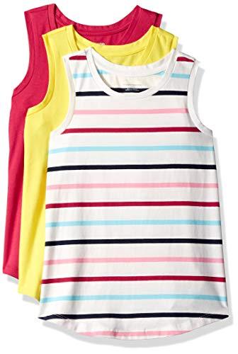 Amazon Essentials Big Girls' 3-Pack Tank, Granita/Multi Stripe White/Aurora, L