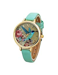 COOKI Hummingbird Pattern Watches Clearance Analog Ladies Watches Girl Watches Leather Female Watches-A15 (Green)