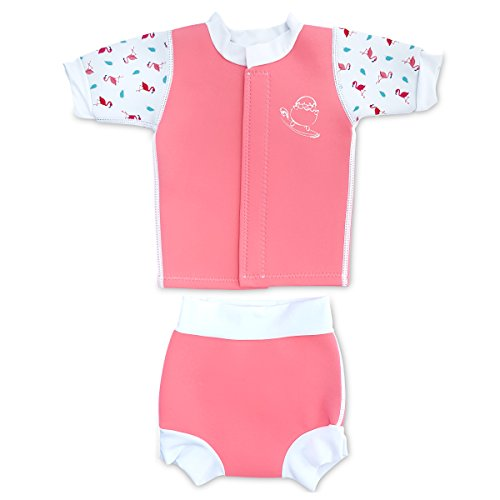 Piece Neoprene Two Wetsuit (Cheekaaboo Huggiebabes Baby & Kids Two Piece Swimsuit for Boys and Girls, 18-30 Months, Pink)