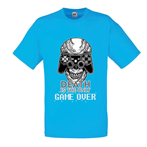 lepni.me T Shirts For Men Game Over Cool Skull Face Gamer, Gaming Skeleton, Funny Game Quotes (XX-Large Blue Multi - For Balance One All Voucher Check