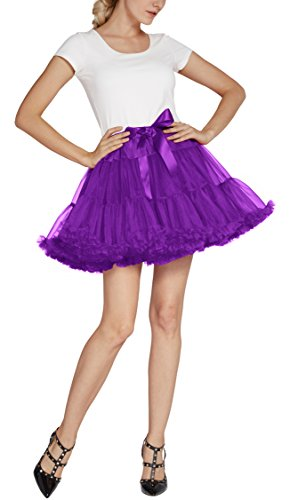 Urban CoCo Women's Petticoat Fancy Tutu Skirt Ballet Crinoline Underskirt (L, Grape) by Urban CoCo (Image #2)