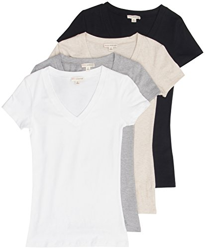 4 Pack Zenana Women's Basic V-Neck T-Shirts Large Black, White, H Gray, H Beige