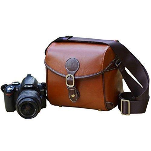 Duosuny Vintage Look Britpop DSLR Waterproof Camera Bag SLR Shockproof Camera Shoulder Messenger Bag for Canon Nikon Sony Pentax Light Brown
