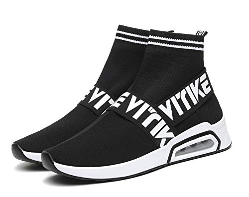 JMFCHI Womens Walking Shoes Sock Sneakers Girls Running Shoe Hip Hop Dance Sneaker Mesh Air Cushion Slip-on Lightweight Breathable Fashion Platform Black Size 8.5