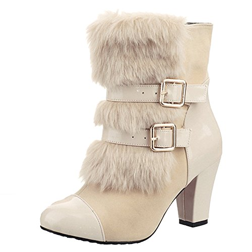 On TAOFFEN Heels Women's Boots Beige Pull 1TwqxITrRS