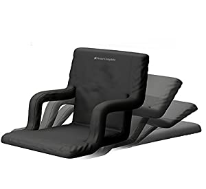 Stadium Seat Chair for Bleachers or Benches - Enjoy Padded Cushion Backs and Armrest Support - 6 Reclining Custom Fit Sport Positions - Portable with Easy to Carry Straps (Wide, Set of 2) by Home-Complete