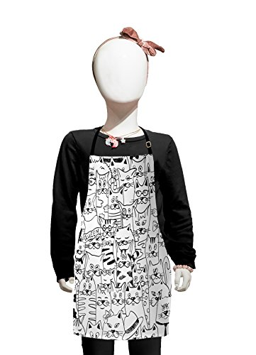 Lunarable Psychedelic Kids Apron, Cats with Costumes Bow Ties Humor Kitty Animal Childish Sketch Illustration, Boys Girls Apron Bib with Adjustable Ties for Cooking Baking and Painting, Black White for $<!--$16.99-->