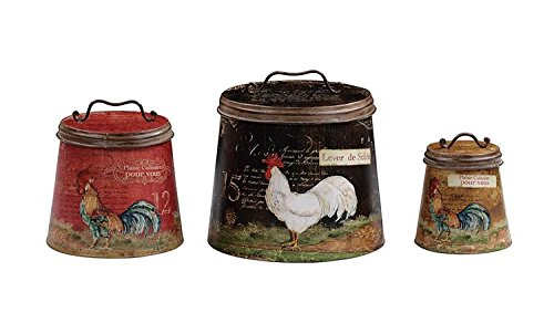Tin Containers W/ Rooster Images SET OF 3 Sizes Black Red Brown Country Home Kitchen D by BCD