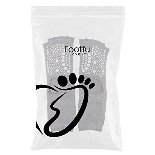 MagiDeal 1 Par Calcetines de Yoga Cinco Dedos Separados de Pies Algodón Transpirable Desodorante Deportes Mujeres - Negro Gris