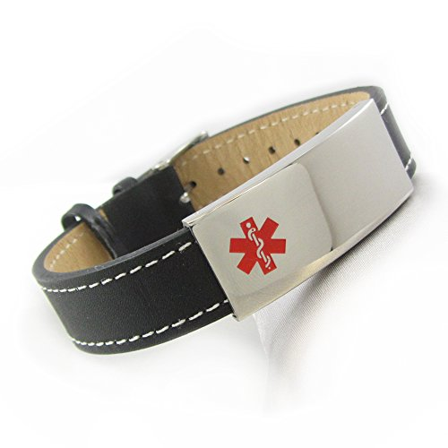 - My Identity Doctor Leather Medical ID Bracelet, Steel ID Plate | Made in USA