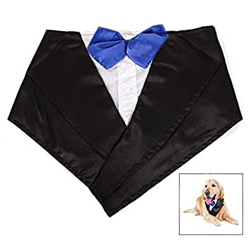 LHKJ Esmoquin Traje de Perros, Triángulo Bandana Perro con Pajarita y Corbata Traje para Mascotas para Perros Pequeños y Medianos