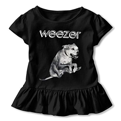 MyLoire Weezer American Rock Band Toddler Girls' T Shirt Cotton Basic Outfit Tee Black