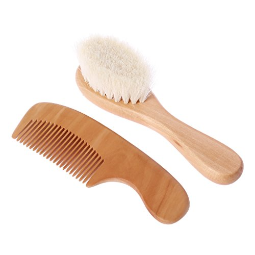 2 Pcs/Set Baby Brush and Comb,Natural Wool Wooden Brush Comb Hair Head Massage Smooth Handle Toddler Kids Care Kit