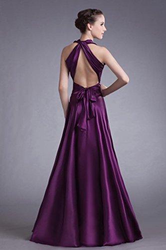 Abendkleid Abendkleid Satin Rueckenfrei GEORGE Lila traegerlosen BRIDE Elegante Lange BqTwU6I
