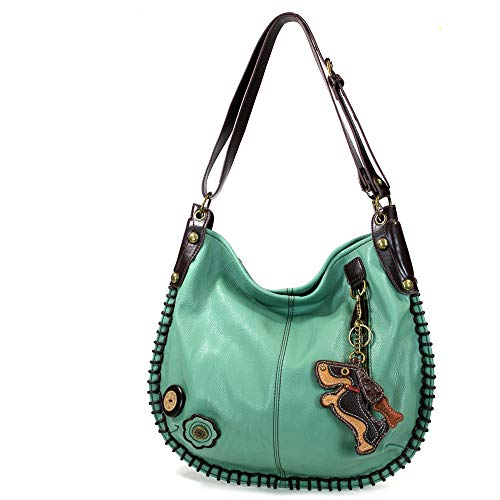 CHALA Crossbody Handbag, Hobo Style, Casual, Soft, Shoulder or Crossbody (Scooter Dog-Teal) ()
