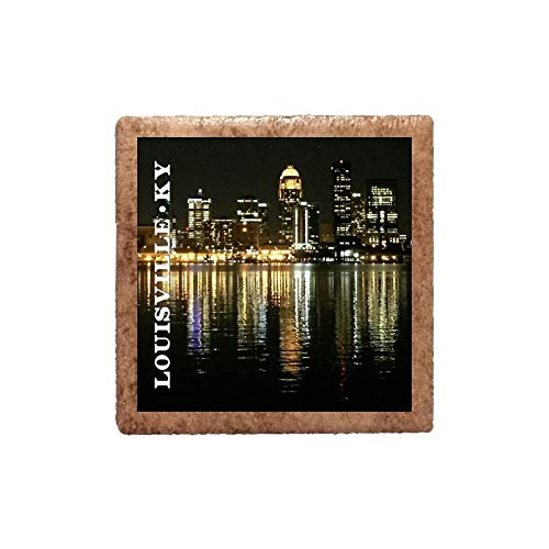 Ceramic Magnet - Louisville Night Skyline ()