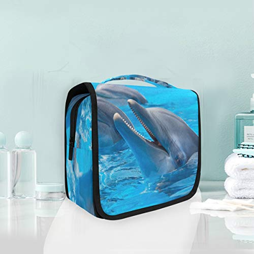 Makeup Cosmetic Bag 3 Dolphins Swimming Pool Blue Water Portable Storage Travel Toiletry Bag ()