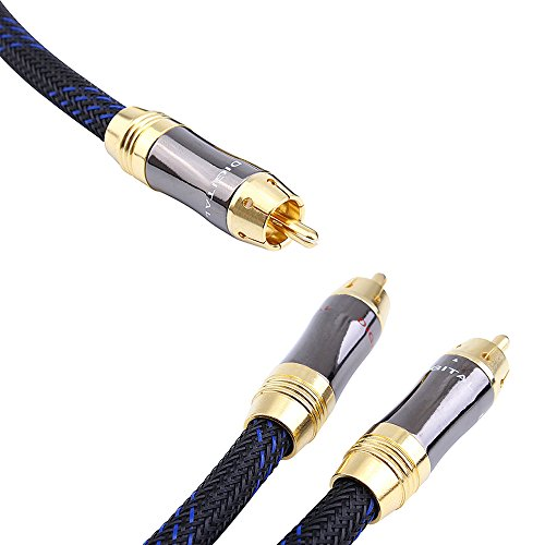 - KUYIOHIFI 1 RCA Male to 2 RCA Male Audio Cable RCA Y-Adapter Subwoofer Cable (10 Feet)