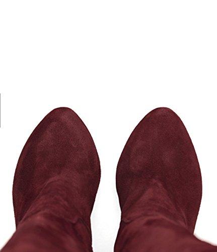 PoiLei Delilah - chaussure femme / superbes cuissardes en cuir à talon aiguille haut - compensé avec bout pointu rouge