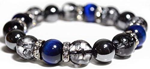 天然石 ブレスレット メンズ 【開運 運気上昇 】 パワーストーン ブレスレット 数珠 ブルータイガーアイ ブラッククラック 水