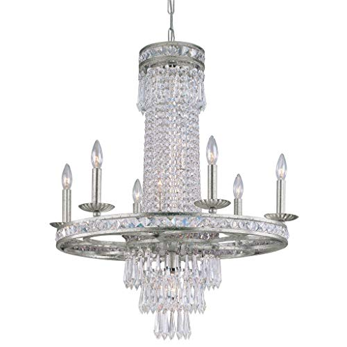- Crystorama 4809-SR, Southport Candle 1 Tier Chandelier Lighting, 12 Light, 720 Total Watts, Sage