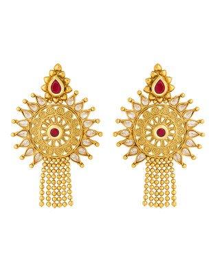 Colors Voylla Navrang Designer Red & White Stones Studded Dangler Earrings